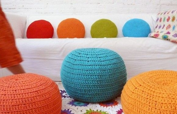 puff-trapillo: Craft, Pattern, Hook Poufs, Of Trapillo, Puff, Pillows, Room