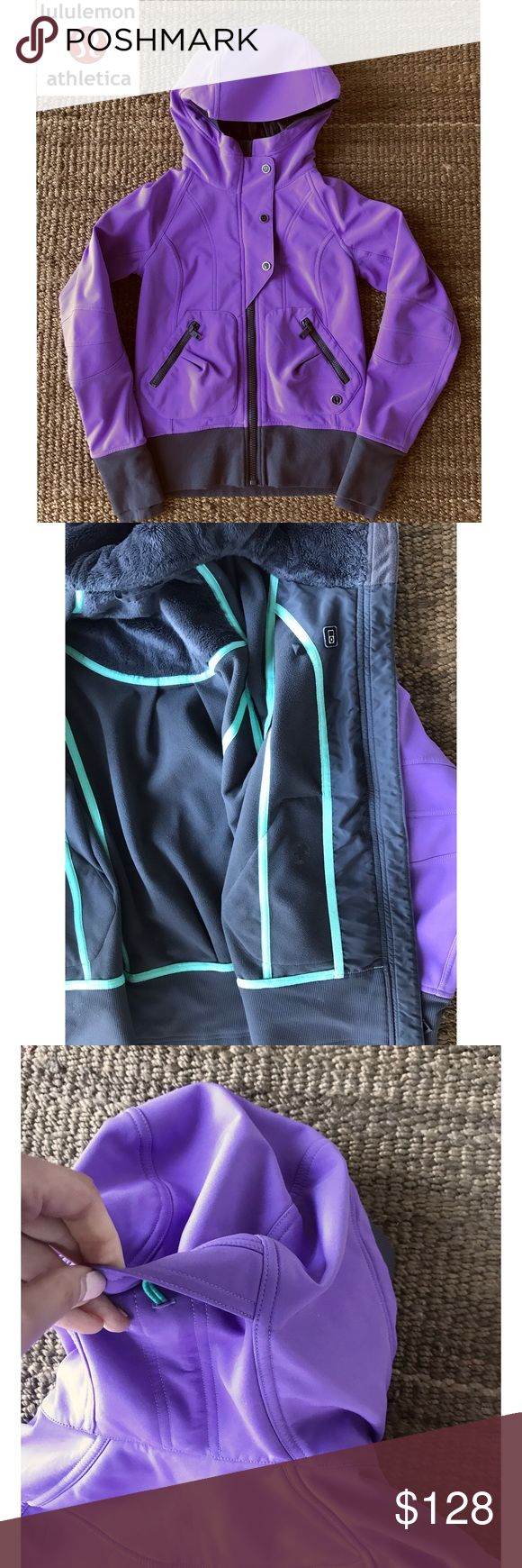 """Awesome Lululemon Hooded Zip Jacket Sz. 4 One of my favorite jackets in a gorgeous color! Furry lined inside with thick nylon shell that has some stretch. This jacket is definitely meant to keep you warm! This hooded jacket feathers multiple pockets, including on perfect for iPhone and earbuds. Zipper front closure which can be reinforced by a button flap on the front. The hood has elastic so you can make tighter or looser and it has thumb holes. Sz. 4 (Bust is 18.5"""" and arm to sleeve is…"""