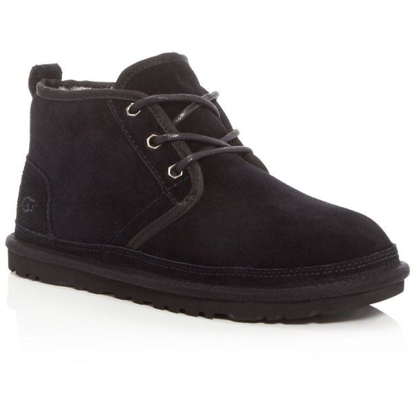 Ugg Neumel Suede Chukka Boots ($130) ❤ liked on Polyvore featuring men's fashion, men's shoes, men's boots, black, mens black chukka boots, mens suede lace up shoes, mens chukka shoes, mens chukka boots and mens black suede boots