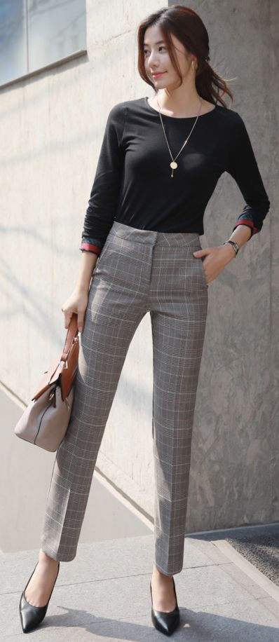 check print straight leg slacks in 2020  smart casual