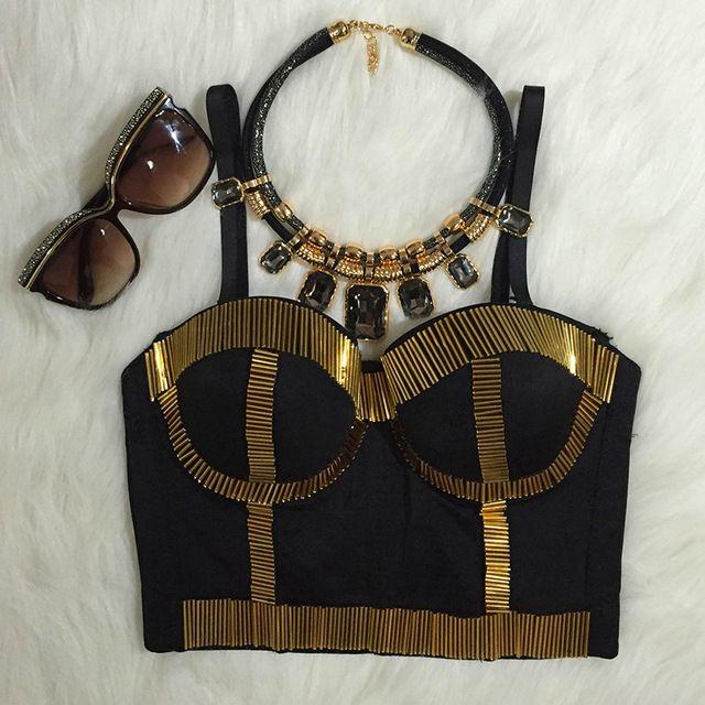 Панк золотые заклепки Bralet корсетных изделий женская бюстье бюстгальтер кадрированные жилет Большой размер
