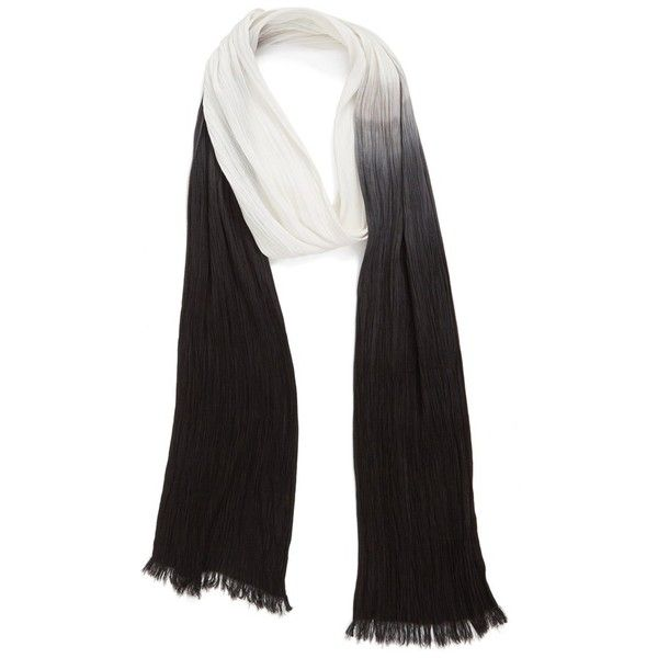 Women's Steve Madden Long Ombre Skinny Scarf (€35) ❤ liked on Polyvore featuring accessories, scarves, black white, fringe shawl, oblong scarves, black and white scarves, ombre scarves and lightweight scarves