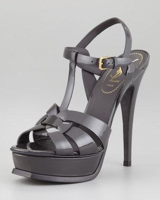 7782c969a6 Yves Saint Laurent 2263 Yves Saint Laurent Tribute Patent Leather Sandal,  Light Gray - ShopStyle