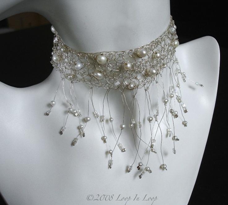 Crochet choker wire pearls
