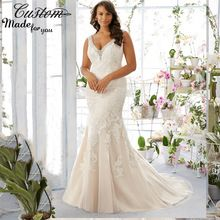 Robe de Marriage Trumpet Sexy Beaded V neck Sleeveless Lace Applique Bridal Dresses Plus Size Wdding Gowns Mermaid 2016 //Price: $US $175.50 & Up to 18% Cashback on Orders. //     #homedecor