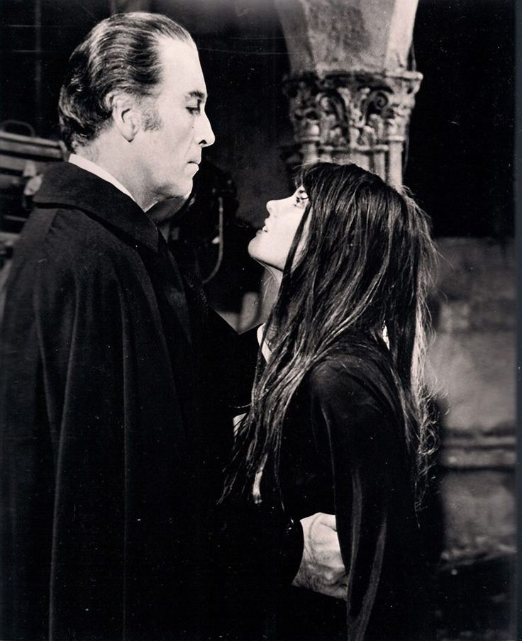 Christopher Lee and Caroline Munro. Dracula A.D. 1972.