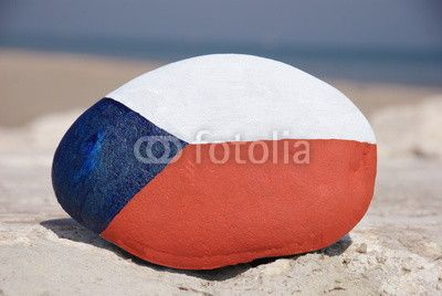 Flag of Czech Republic on a stone