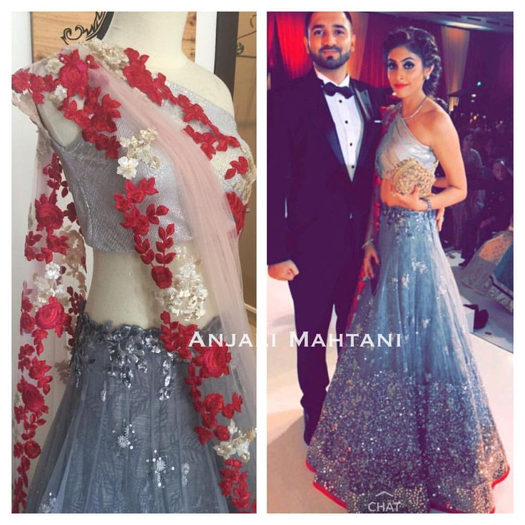 Beautiful in our shimmer gold grey lengha adorned with embroidered-Anjali Mahtani