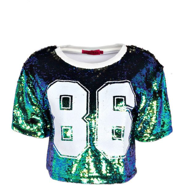 Boohoo Yazz 86 Sequin Sports Crop Tee ($26) ❤ liked on Polyvore featuring tops, t-shirts, crop tops, shirts, crop, sport t shirt, crop tee, sequin tee, crop top et crop t shirt