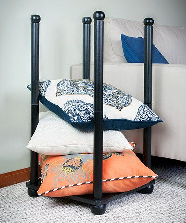 pillow holder for bedroom. keep your bedroom organized with this pillow tower that cuts down on clutter and extends the life of favorite cushion. holder for w