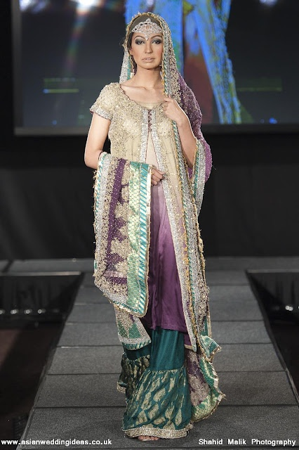 Purple and sea green/blue is on my favourite color combinations of all time (Pakistani wedding dress by Maria B.)