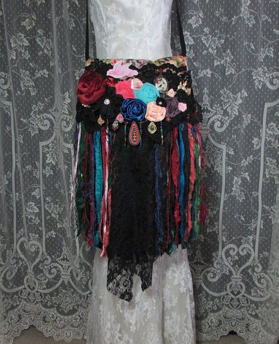 Gypsy Black Lace Fringe Festival Bag  Hippie Fringe Bag