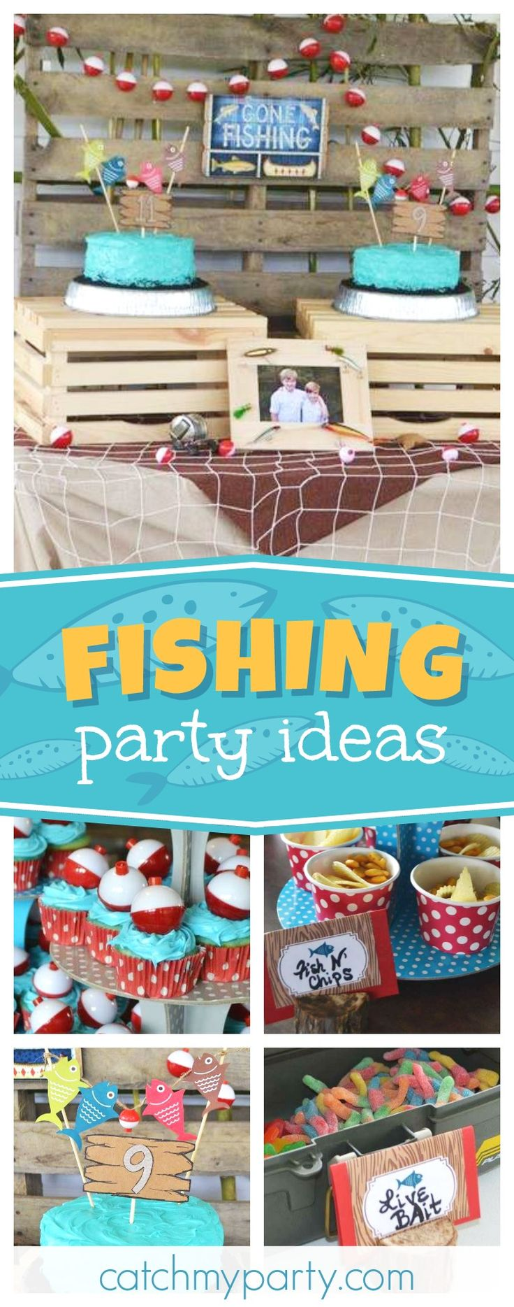 Check out this awesome twins fishing birthday party! The cakes are so much fun!! See more party ideas and share yours at CatchMyParty.com #fishing #twins