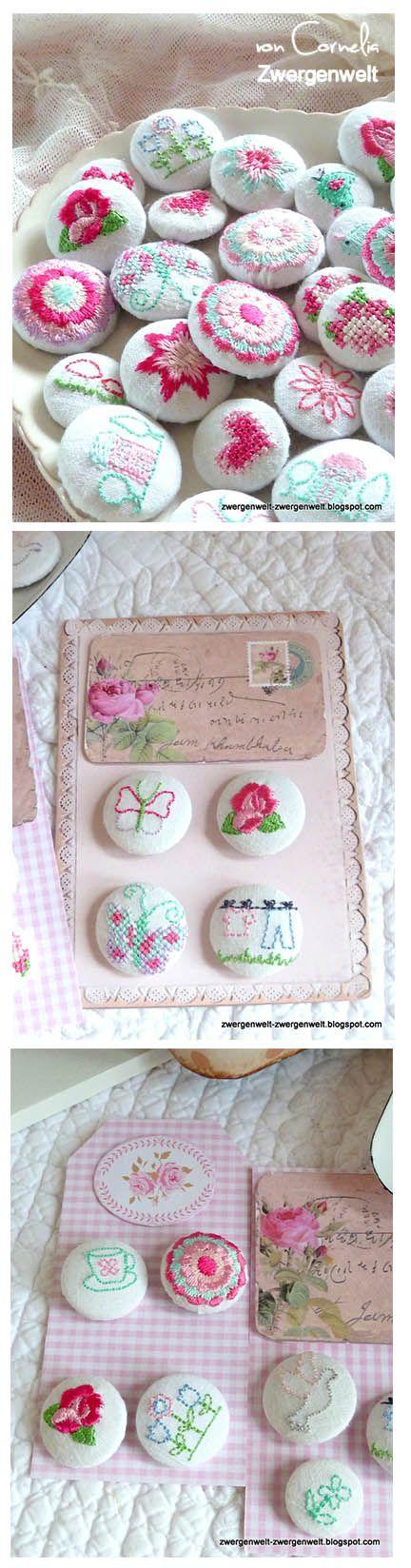 Cute machine embroidered buttons Bestickte Knöpfe Stickdatei vom Stickbär www.stickbaer.de