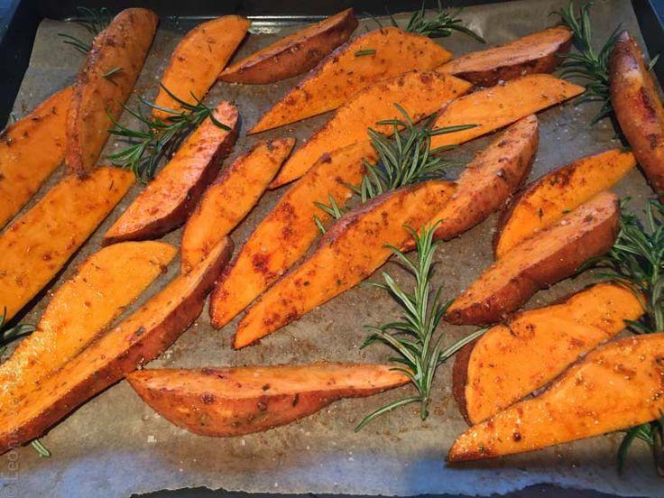 Zoete aardappelfrietjes uit de oven