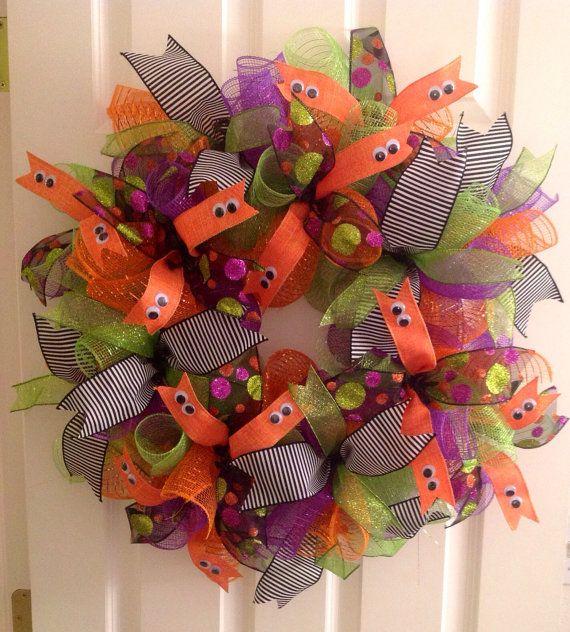 Whimsical Halloween Curly Deco Mesh Wreath by KatiesCraftingKorner, $75.00