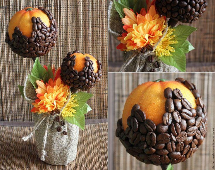 """Купить Кофейный топиарий """"Цитрусовый кофе"""" - оранжевый, апельсин, мандарин…"""