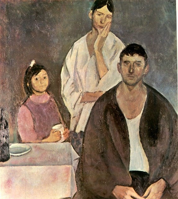 CorneliuBaba (1906-1997) - 1963 The Family    Corneliu Baba was a Romanian painter, primarily a portraitist, but also known as a genre painter and an illustrator of books