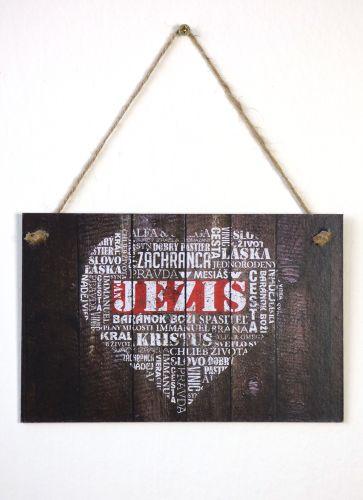 Ježišove mená, srdce (tabuľka - tmavý podklad) - Originálna handmade tabuľka na zavesenie | Richard Honz | 5,99€ - obrázok