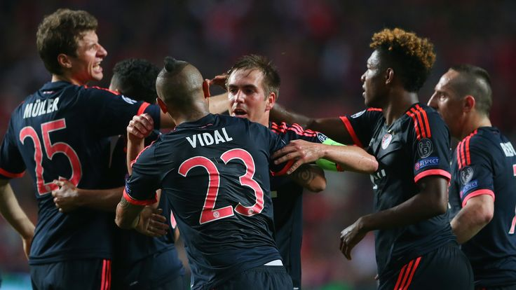 Arturo Vidal is congratulated after his 38th-minute strike