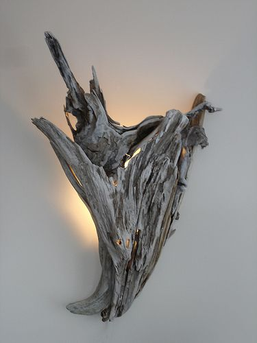 "27""H x 21""W. Love this drift wood light/sconce."