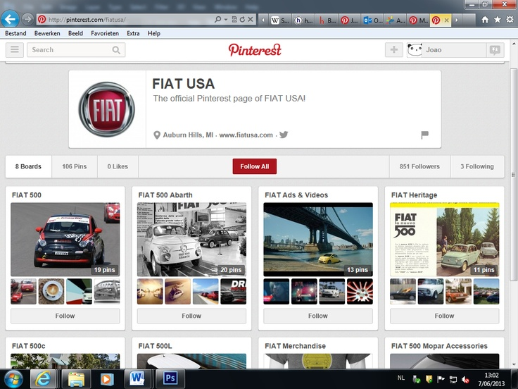 Fiat Page is directed to USA clients, showing boards of different car models, for example Fiat500, but also some accessories and merchandise from their official store, using a social network to promote themselves in a clever way.