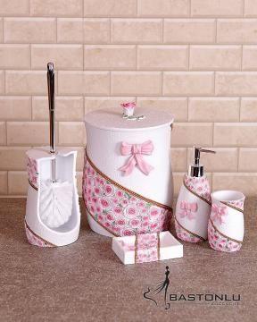 Polyester 5 Li Desenli Pembe Çiçekli Banyo Seti
