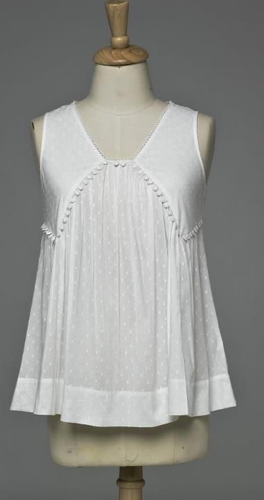 Empire line sleeveless top with lace edging in Swiss voile fabric