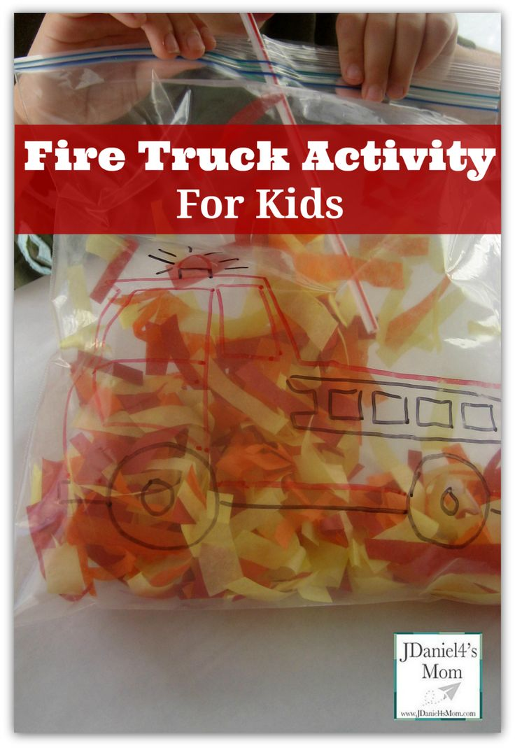 This is a fire truck activity for kids. It would be great for Fire Safety Month in October. Children try to blow the colored tissue pieces up past the fire truck. #firetruck #firesafety