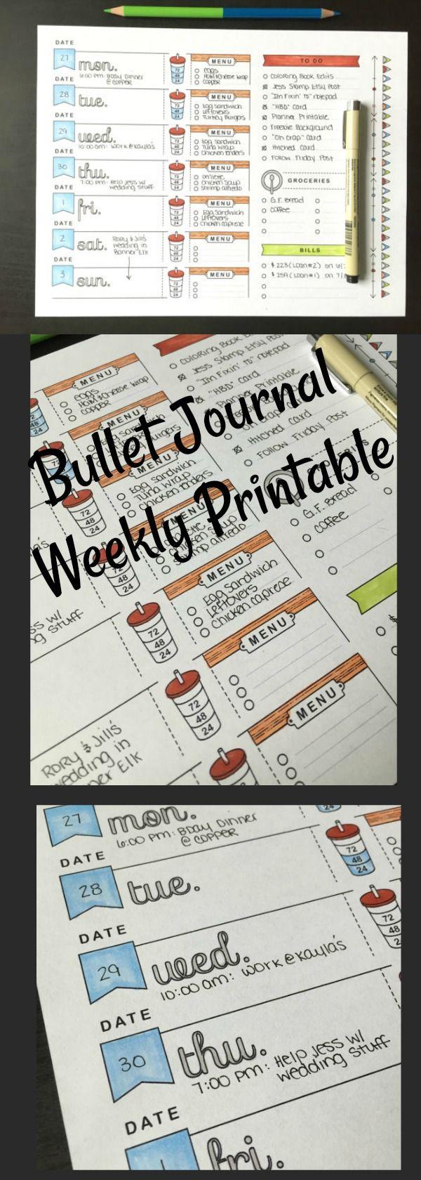 Bullet Journal Weekly Spread ~ A4, Printable Planner Page, Weekly Calendar Template, Bullet Journal Printable, Adult Coloring, To Do List, Grocery List, Meal Planning #affiliate #bulletjournalweeklylog #bujoprintable #plannerpage