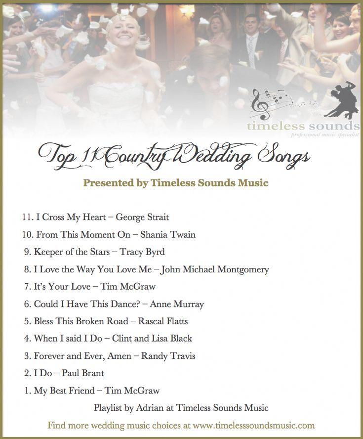 Timeless Sounds Music Top 11 Country Wedding Songs # ...