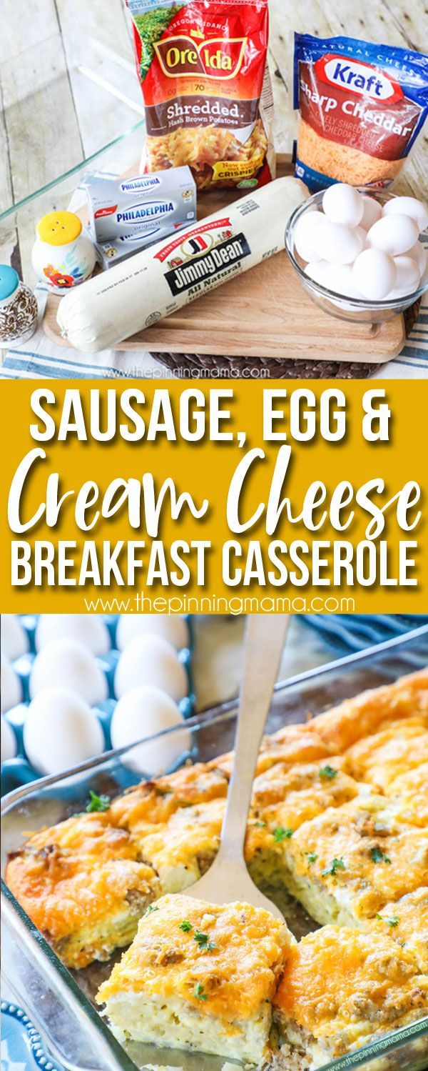 Perfect for brunch! The BEST breakfast casserole we have had! Packed with sausage, eggs, and cream cheese, it has all of the delicious flavors but is so easy to make. Perfect for Easter, Christmas morning, or a brunch get together! (Breakfast Recipes Easy)