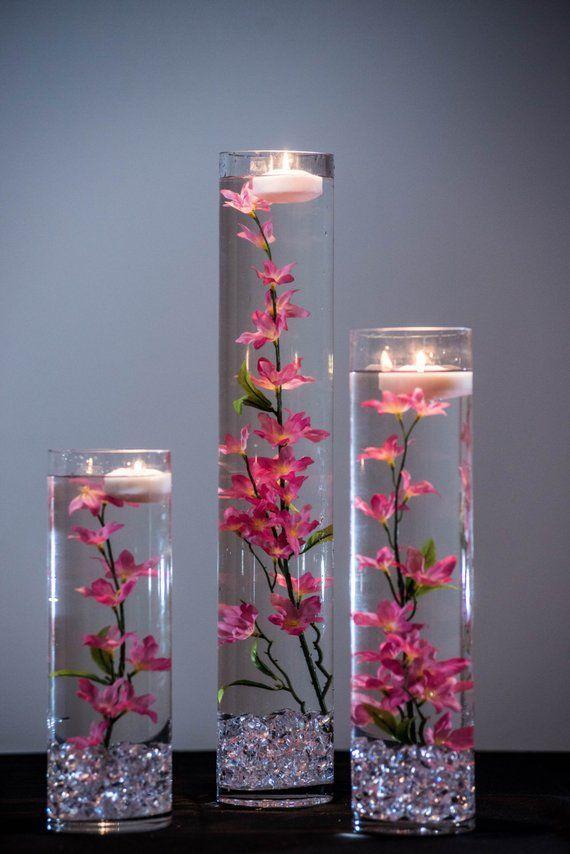 Tauchbare rosa/Licht rosa/rot gelb Stern Blume Floral Hochzeit Herzstück mit schwimmenden Kerzen und Acryl Kristalle Kit