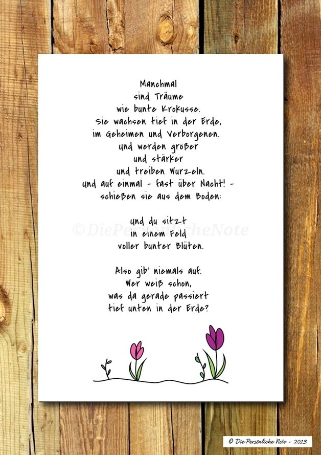 Zu Ostern mal 'was ganz anderes verschenken ... Mutmacherspruch für alle, die noch große Träume haben! - Druck/Wandbild/Print: Frühlingspoesie für Träumer