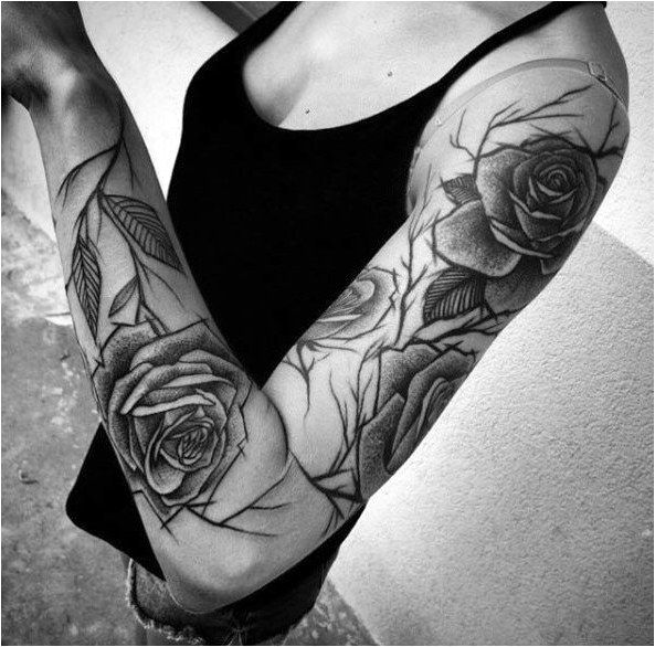 Sketch Style Rose Sleeve By Inez Janiak Tattoosleeves Click To