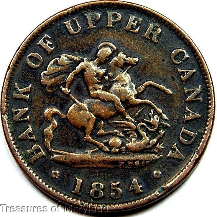 """St George the Dragon Slayer"" 1854 BANK OF UPPER CANADA Halfpenny  Sku #QP11"