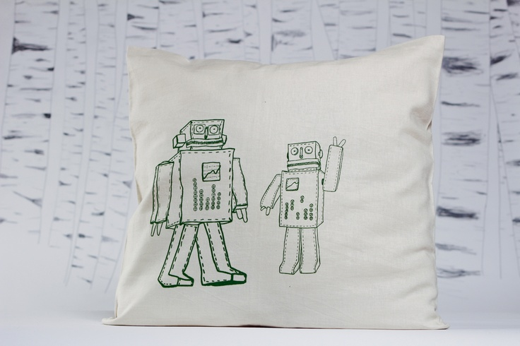 'Robot band' limited edition screen printed pillow-case by evuska