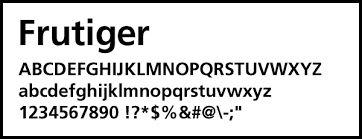 「フォント frutiger」の画像検索結果
