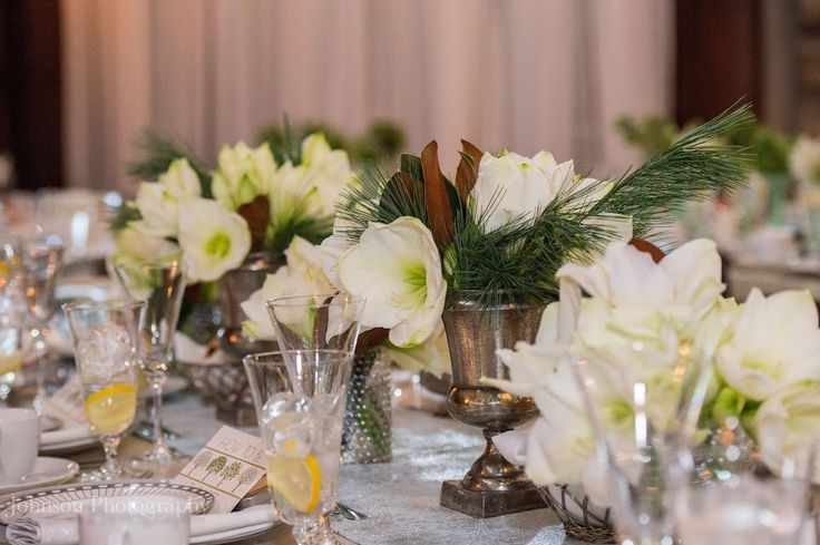 Amaryllis centerpieces adorned with elegant magnolia and winter evergreens. Floral design: Winston Flowers. Photo credit: Johnson Photography.