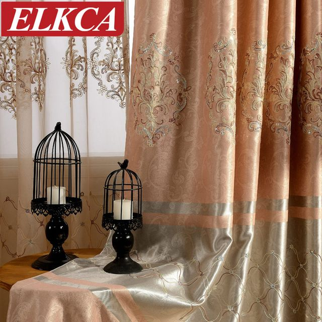 ELKCA brand European Embroidered Blackout Window Curtains for Bedroom Living Room Beaded Sequins Lace Luxury