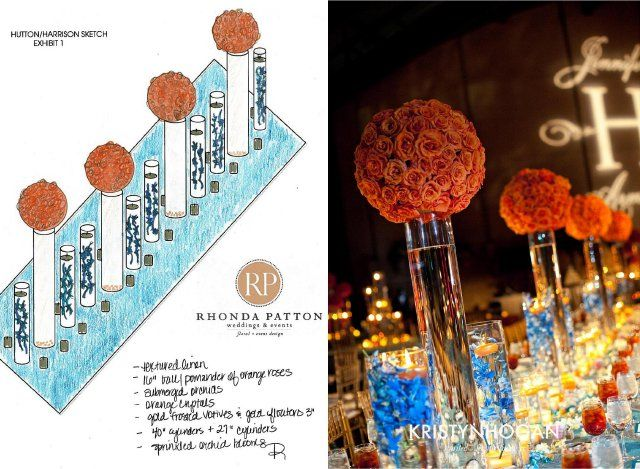 rhonda patton, design, sketch, blue, orange, head table, nashville wedding