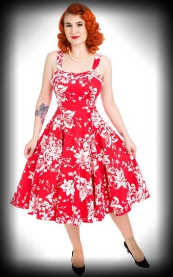 Hearts and Roses Kleid - Lily Floral Swing, ärmellos dress red floral white with straps 1950s vintage style jurk rood met witte bloemen print