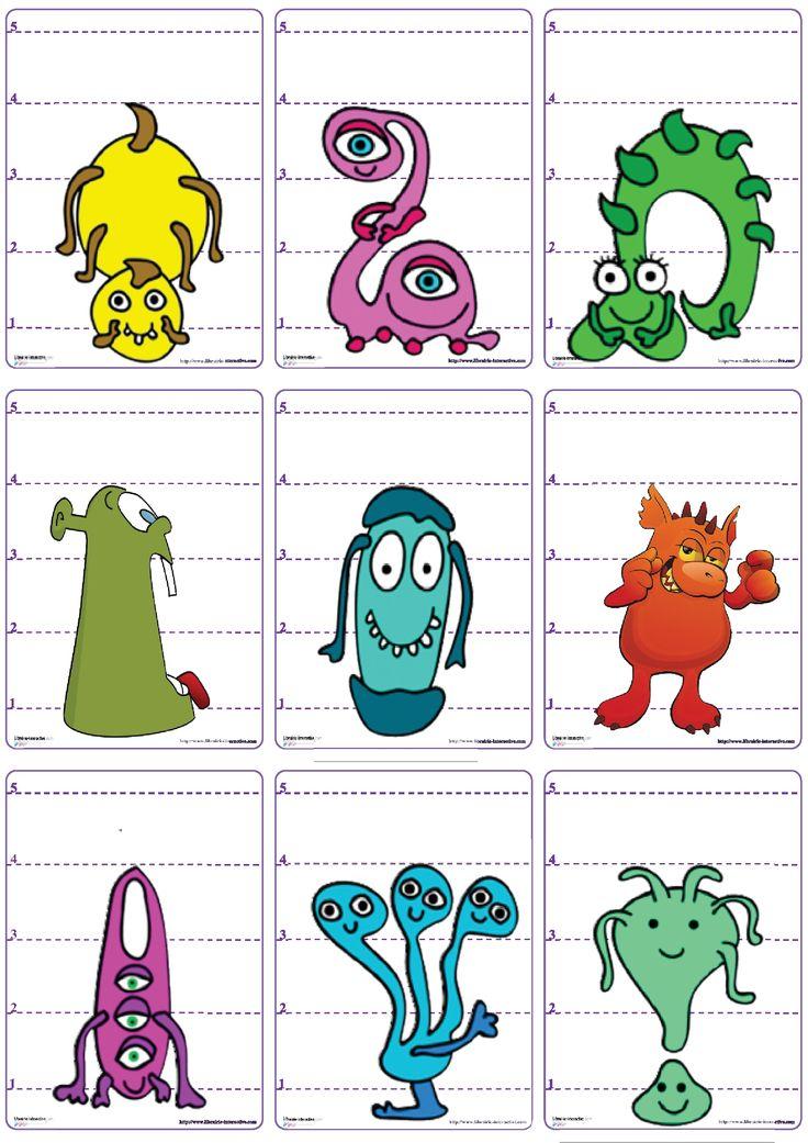 Un jeu de 62 cartes sur le th�me des monstres et d'Halloween pour jouer � la bataille en comparant les longueurs et les chiffres de 1 � 5.