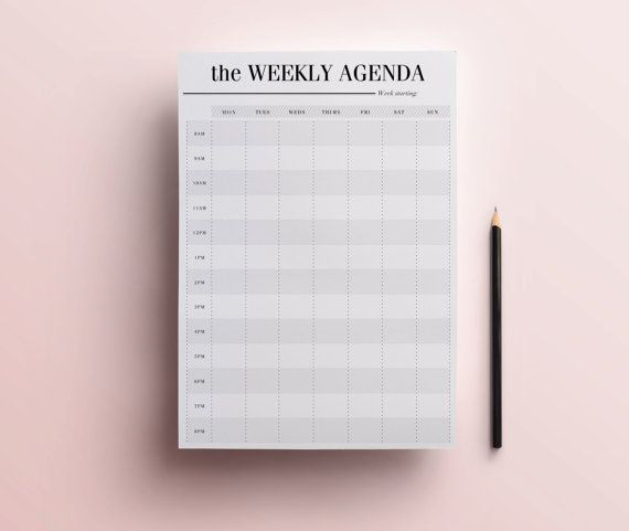 Weekly Agenda Planner Printable Weekly by CrossbowPrintables