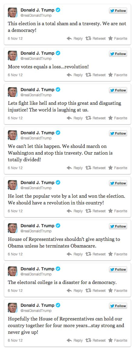 Donald Trump's Tweets After Obama Won, a little unhinged wouldn't you say? Well then again what republican isn't?