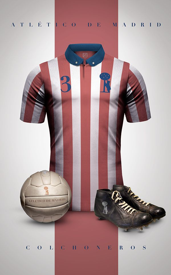 Vintage Clubs II on Behance - Emilio Sansolini - Graphic Design Poster - Atlético de Madrid - Colchoneros