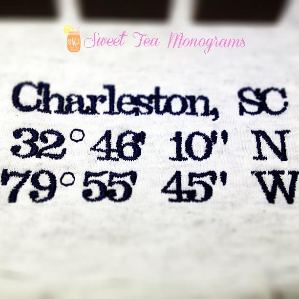 Charleston, SC coordinates t-shirt