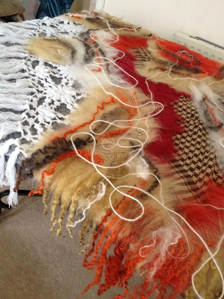 Boho style scarf triangle -www.nadinsmo.com Pure merino wool,curls,cotton,knitted scarf