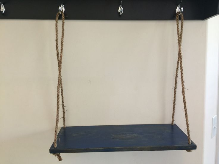 "Swing shelf 10x24 with Manila rope 1/2"". Distressed blue."