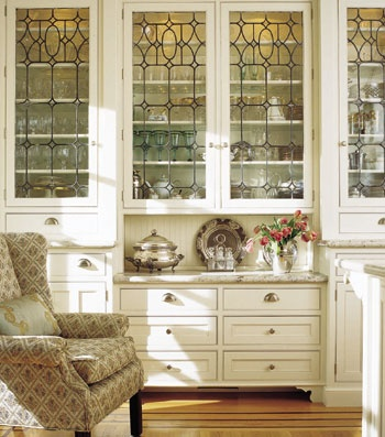Love these leaded glass cabinets!